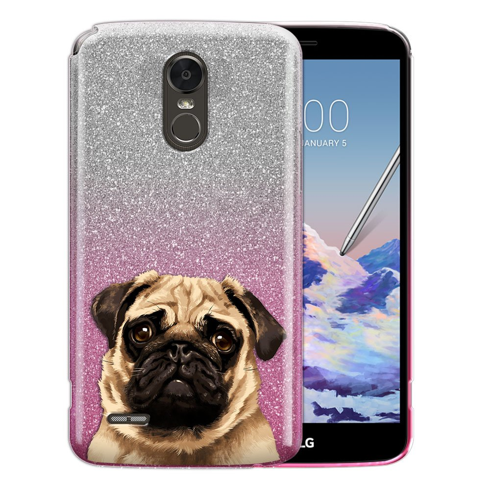 FINCIBO Case Compatible with LG Stylo 3 Stylus 3 LS777 / Stylo 3 Plus, Shiny Sparkling Gradient 2 Tone Glitter TPU Protector Cover Case For LG Stylo 3 Stylus 3 - Cute Pug Puppy Dog