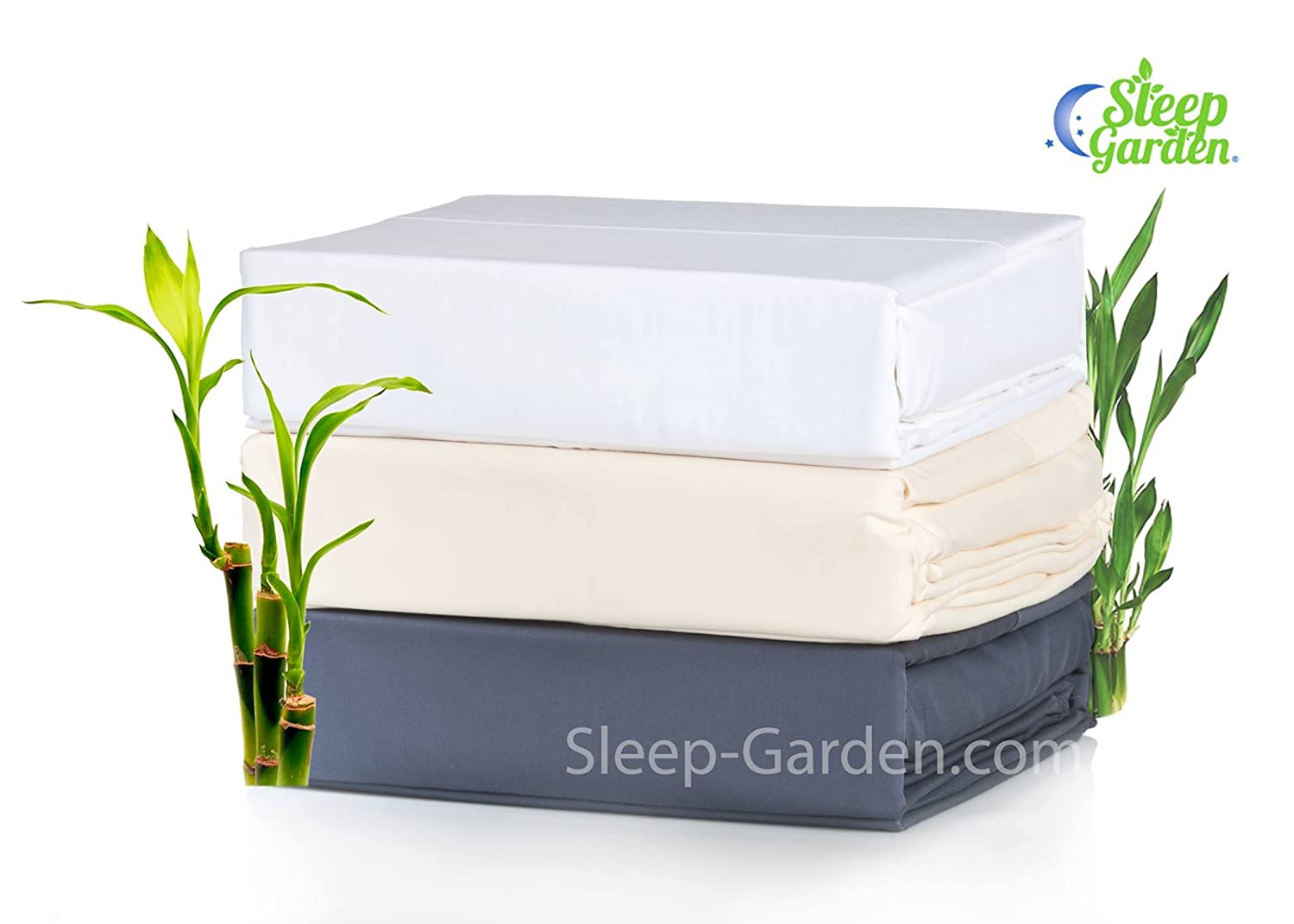 Super Soft Eco-friendly Ivory 100/% Bamboo Hotel Quality 3 Piece Twin Size Sheet Set Hypoallergenic 320-Thread-Count GMO Free SLEEP GARDEN Bamboo Sheets