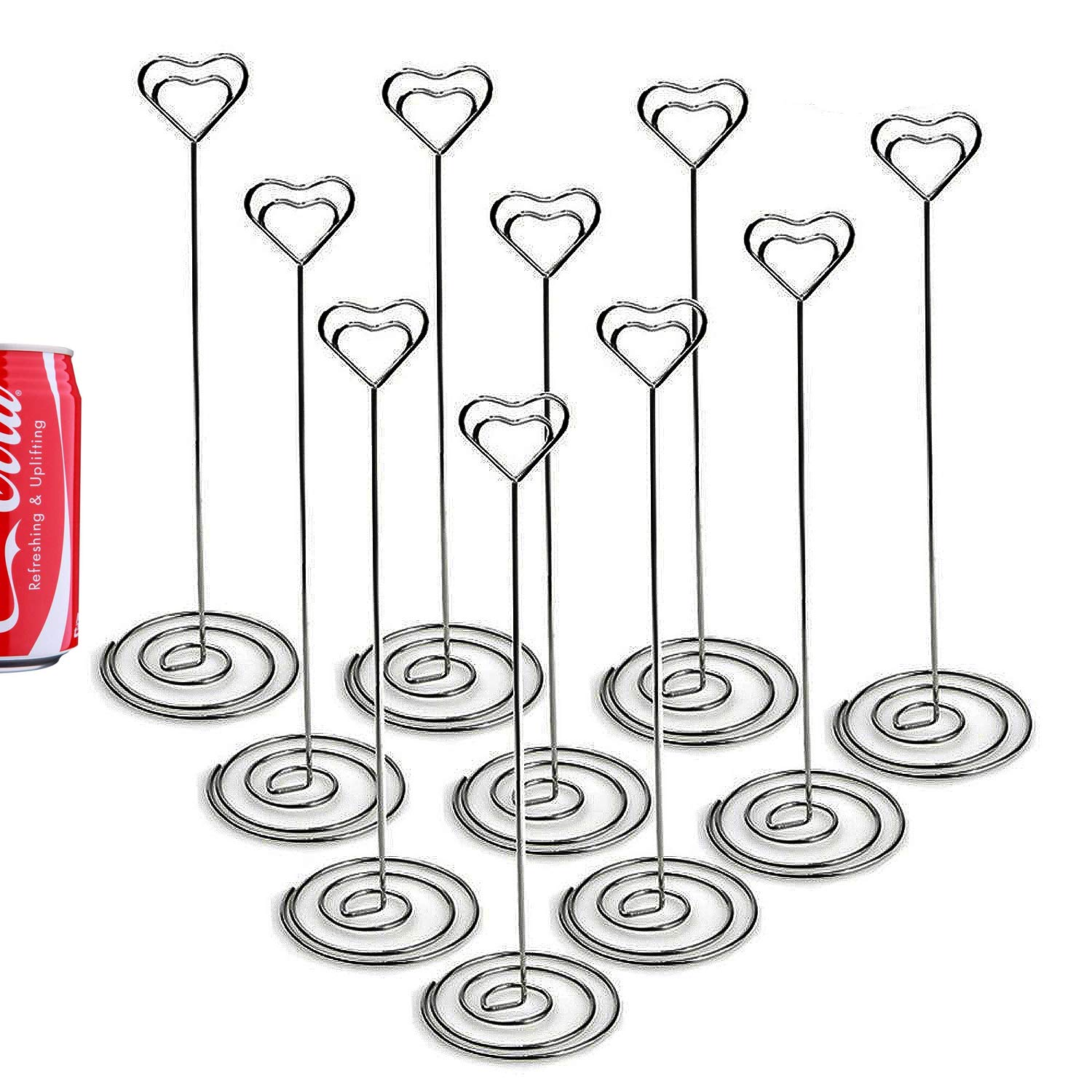 GRACETOP 12pcs Tall Place Card Holders 8.7 Inch Heart Shape Table Number Holder Chrome Plated Metal Funny Heart and Vortex Clip Desktop Decoration Memo Holder Stand Tabletop Card Holder