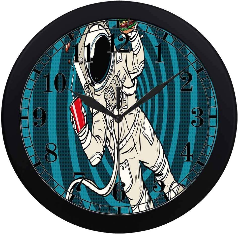INTERESTPRINT Astronaut in Zero Gravity with Fast Food Unique Elegant Wall Clock