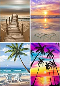 4 Pack Diamond Painting Kits for Adults 25x30cm, Full Drill Diamonds Paint by Number Arts Crafts Paintings Beach Round Gems Cross Stitch Patterns Diamond Dots Home Wall Decor 9.8x11.8 Inch