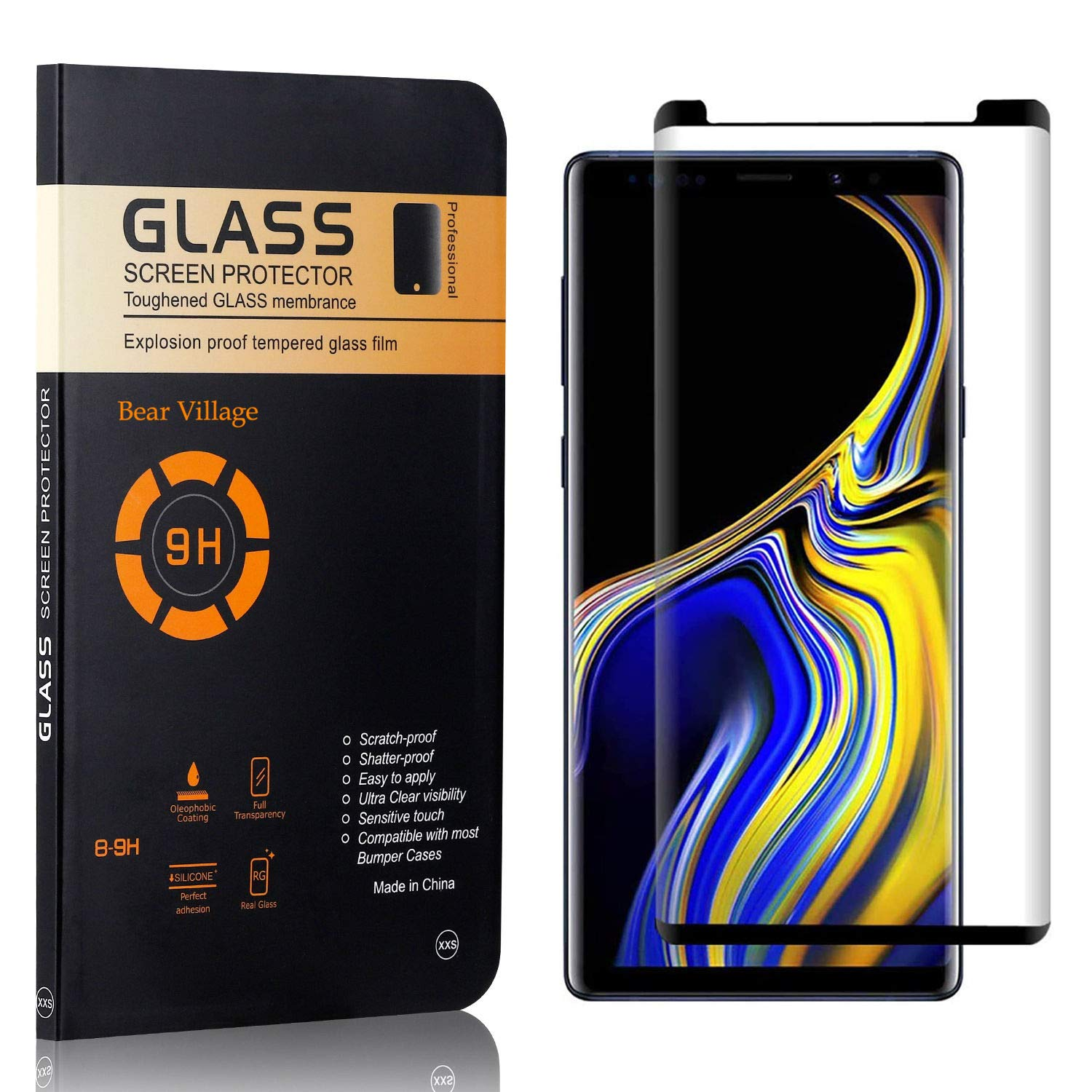 Bear Village HD Tempered Glass Screen Protector Bubble Free Screen Protector for Galaxy Note 9 Anti Scratch Screen Protector Film for Samsung Galaxy Note 9 4 Pack