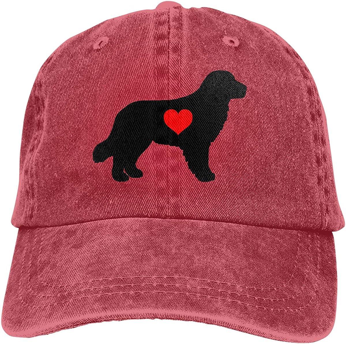 Yarn-Dyed Denim Trucker Hat Golden Retriever with Heart Mens Womens Adjustable Jeans Baseball Hat