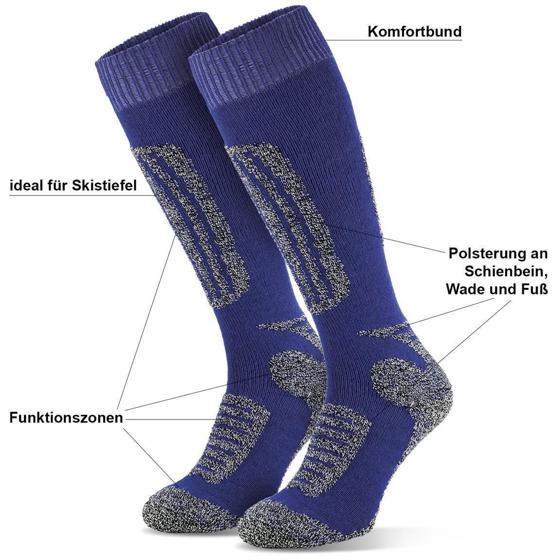 2 Paar Sportsocken Socken f/ür Herren und Damen Skisocken Snowboardsocken Blacksnake/®