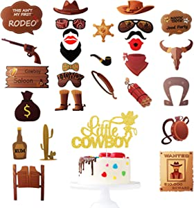 Little Cowboy Birthday Cake Topper / 30pcs Cowboy Photo Booth Props - Western Wild West Farm Theme Party Supplies - Baby Shower Cowboy Cowgirl Party Decoration
