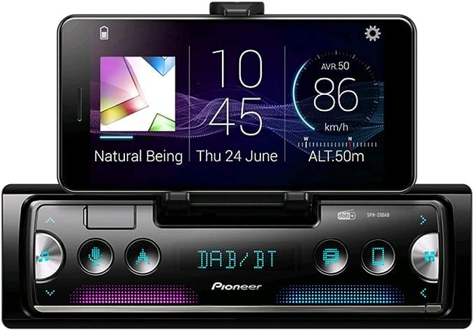 Pioneer SPH-20DAB con antena incluida Receptor de 1-DIN de última generación con radio DAB/DAB+ digital, Bluetooth, USB y Spotify, se conecta a iPhone ...