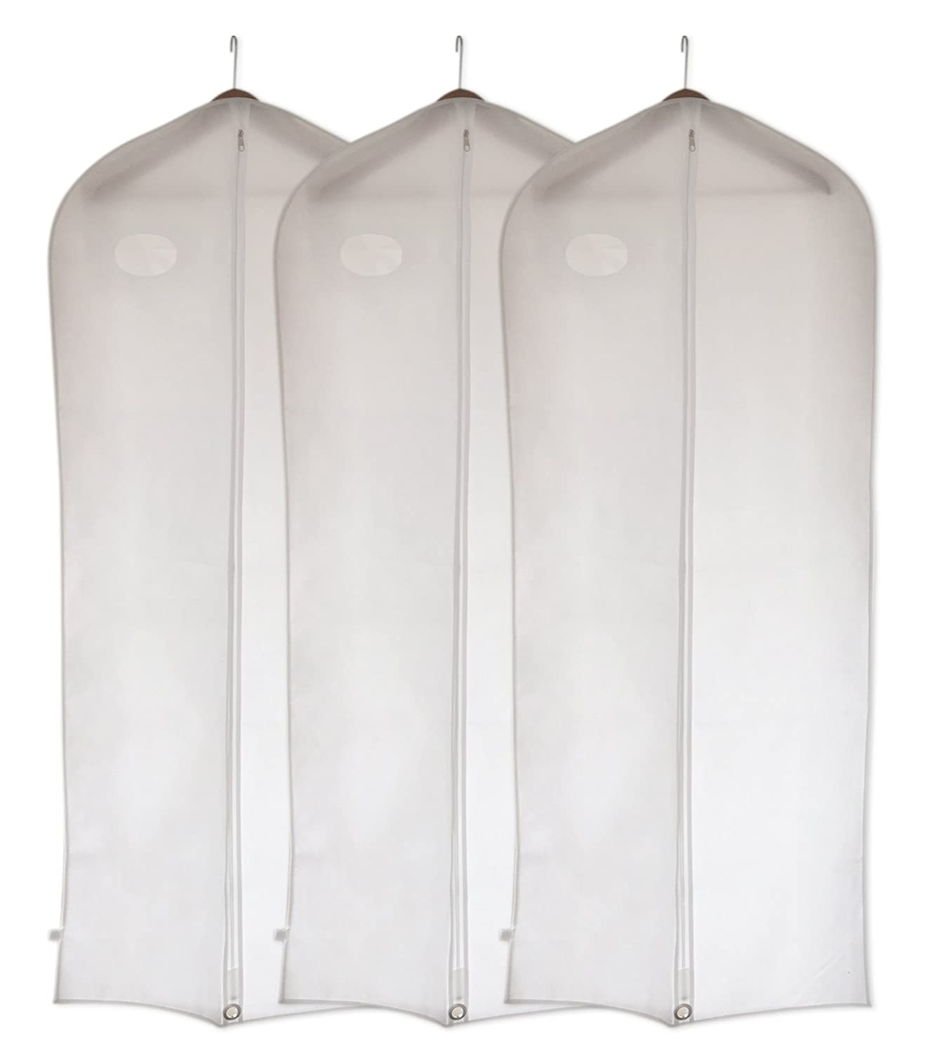 Garment Covers Bags by DRYZEM Set of 3 White Long Breathable Covers for Suits, Shirts, Gowns and Dresses 2 Year Warranty CAJCOM Ltd