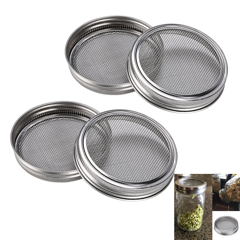 SUMNACON Sprouting Jar Lids Kits - Stainless Steel Sprouting Lids For Wide Mouth Mason Jars, 4 Pack Sprouting Jar Lid Kit For Making Broccoli/Lentil/Bean Sprouts