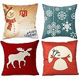 "Wonder4 Decorative Sofa Pillow Cases, 4 Pack Christmas Decor Pillow Cases, Snow Man, Deer 18 x 18"" cotton linen fabric (1B)"