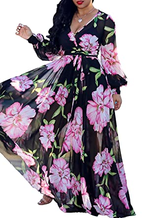 7b40448157e Just For Future Womens V Neck Belted Dress Chiffon Long Sleeve Floral  Printed Maxi Long Dress