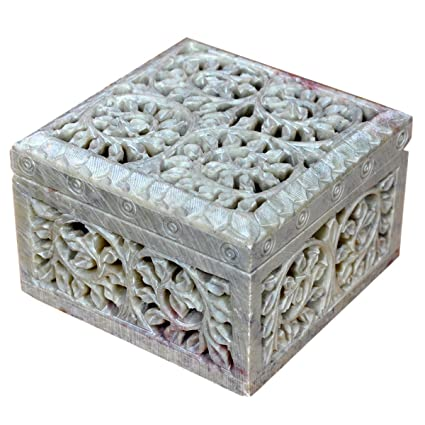 Hashcart Portagioie decorativo pietra ollare naturale scultura floreale multi Utility Storage box by Accessori