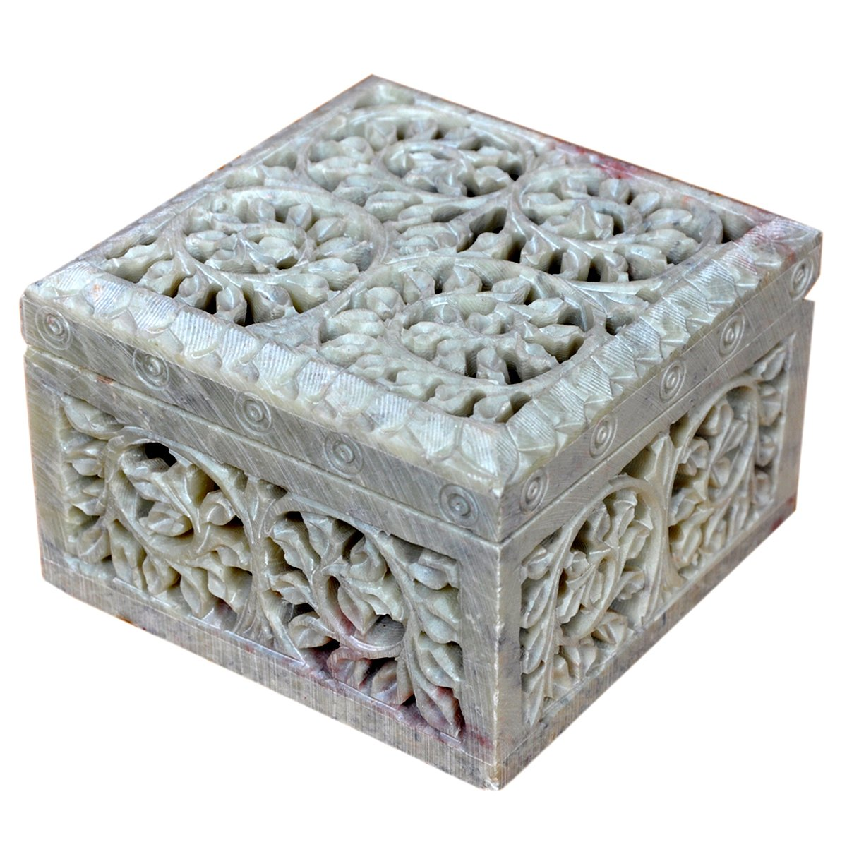 Hashcart Indian Artisan, Handmade & Handcrafted Stone Jewelry Box/Jewelry Storage Organizer/Trinket Jewelry Box/Gift Box with Traditional Design by Hashcart (Image #1)