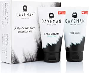 A Man's Skin Care Essential Kit by Qaveman - The Perfect Personal Skincare Gift For Men - Made With Natural Ingredients To Hydrate, Rejuvenate And Revitalise His Skin