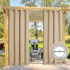 Amazon.com: NICETOWN Outdoor Curtain for Patio Waterproof