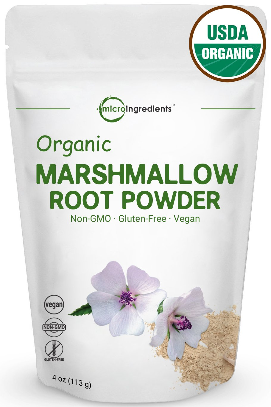 Premiun Pure Organic Marshmallow Root Powder, 4 oz. Non-GMO, Support Healthy Gut & Lung Function