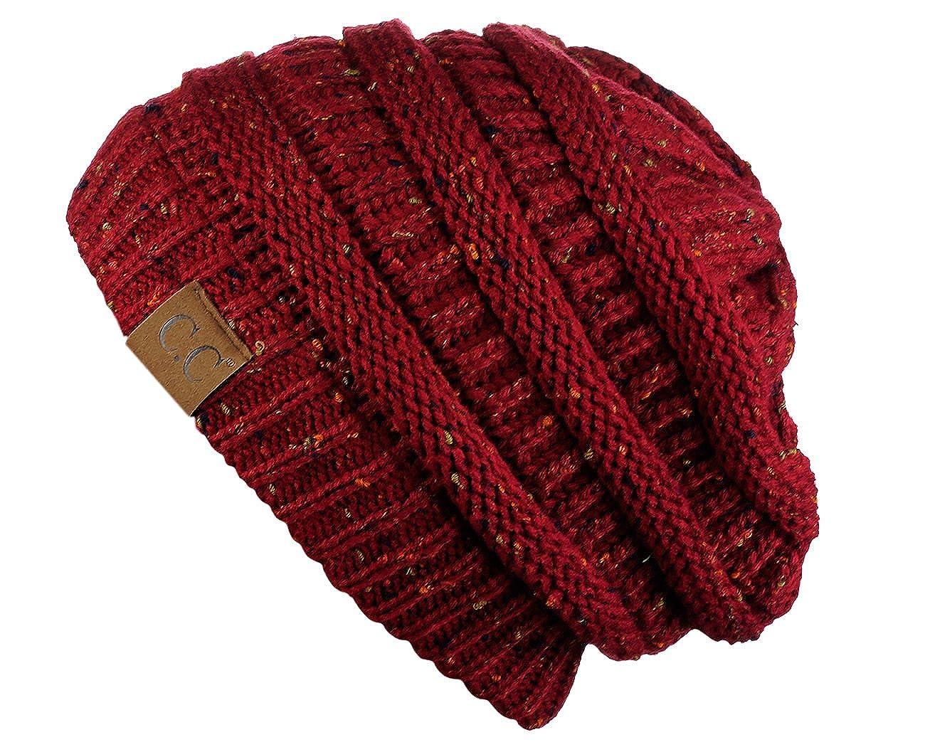 3438ce5cc8f24 C.C Unisex Colorful Confetti Soft Stretch Cable Knit Beanie  Skullcap-Burgundy