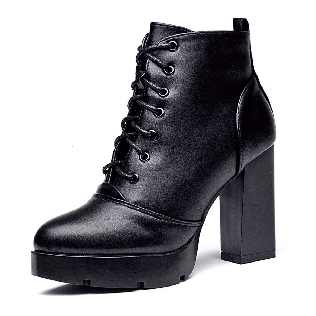 HBDLH Damenschuhe Kurze Stiefel Damen In Herbst und Winter Grob Hacken Hochhackige Schuhe Martin Stiefel Samt Stiefeletten Eckige Schuhe 10Cm