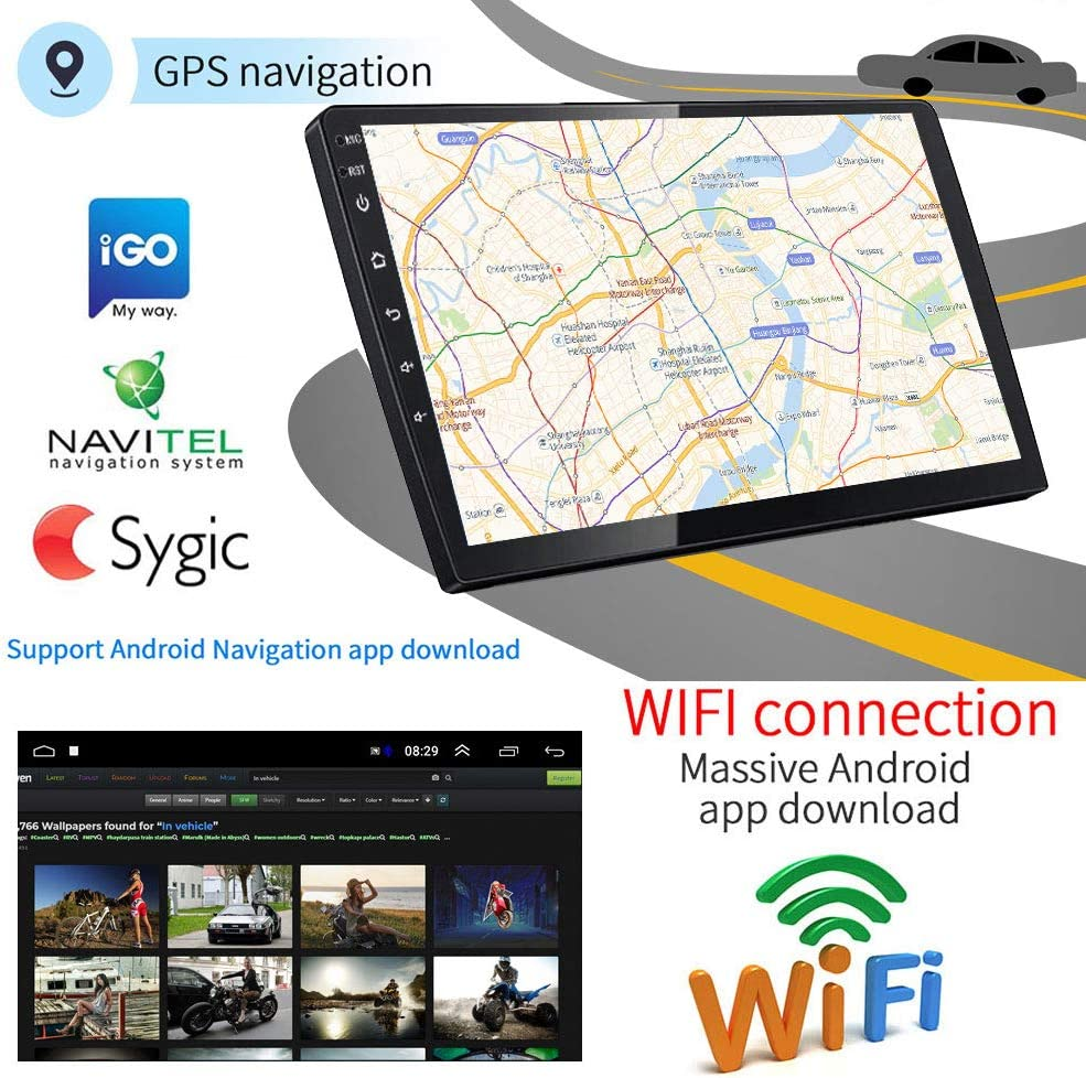 Android Autoradio GPS 9 Auto Radio CAMECHO 2 Din Touchscreen FM AM Radio Bluetooth WiFi Handy Spiegel Link mit Dual USB