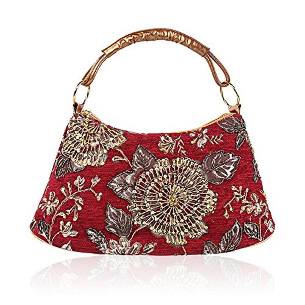 2018 Spring Flower Embroidery Shoulder Bag India Style Handbag Leather Flannel Handbag Flower Tote Bag (Red)