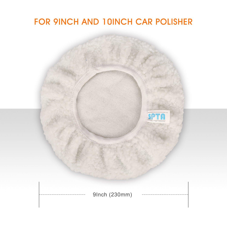 SPTA 9 Inch & 10 Inch Car Polisher Bonnet, Waxers Bonnet Set,Max Waxer Bonnet Polishing Pad for Most Car Polishers For 9 Inch & 10 Inch Car Polisher Pack of 8Pcs by SPTA (Image #4)