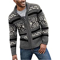 Burband Mens The Dude Zip Up Cardigan Sweaters Shawl Lapel Open Front Cable Knitted Cardigan Jackets Slim Fit Vintage…