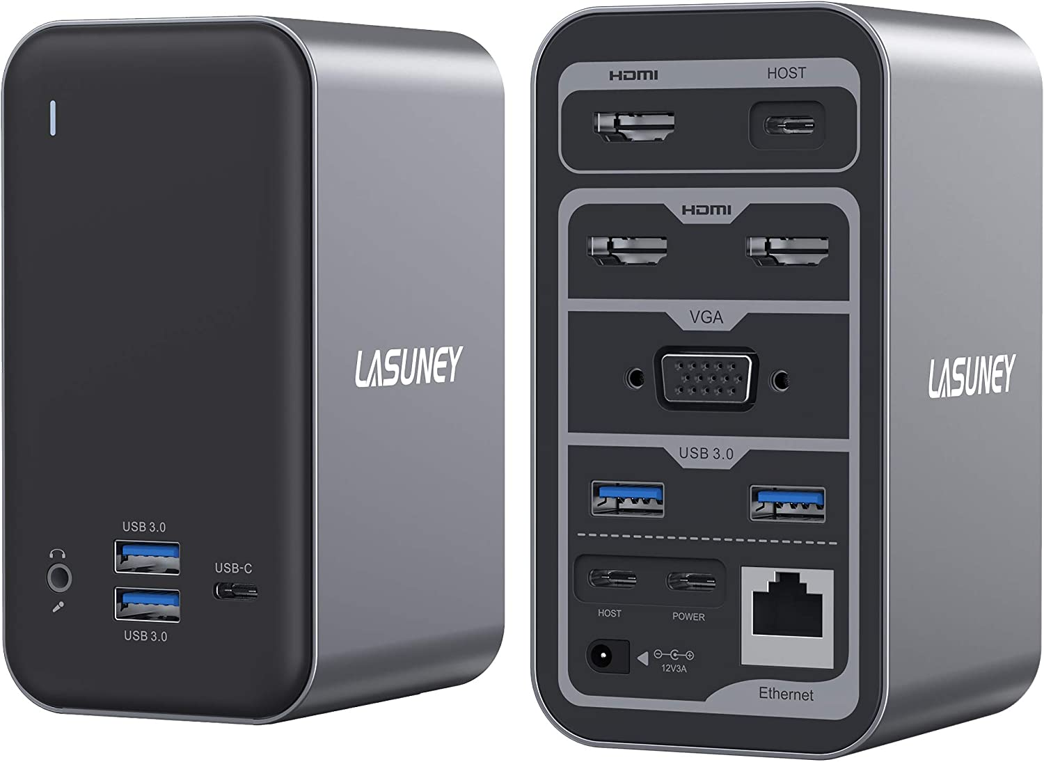Lasuney 15 in 1 Multiple Display USB C Laptop Docking Station (3 HDMI, VGA, Ethernet, 2 USB-C in Ports for Connecting Two laptops, 4 USB-A and 2 USB-C Ports for Charging and Data, Audio/mic, AC/DC)