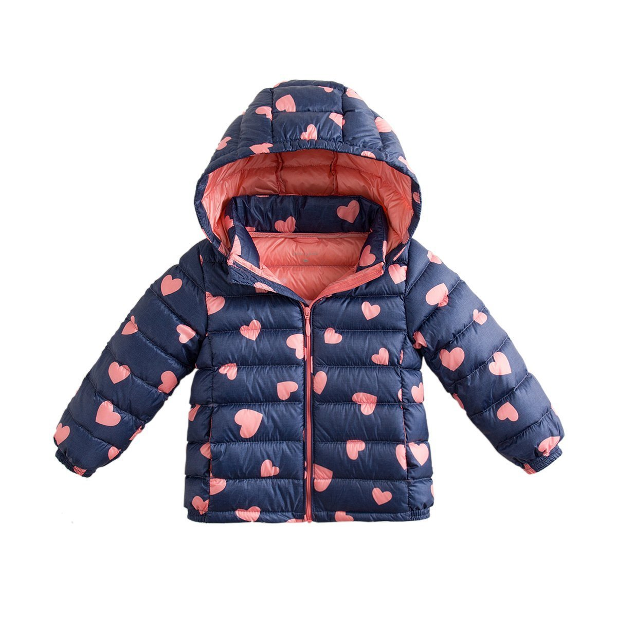 marc janie Baby Boys Girls Kids' Outerwear Ultra Light Down Jacket with Removable Hood 6T Blue Pink Love by marc janie (Image #7)
