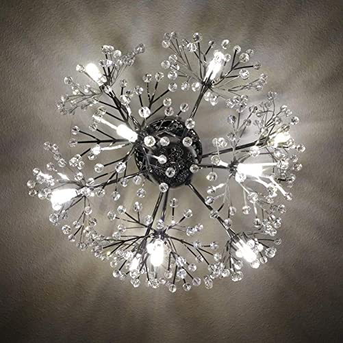 Injuicy Lighting Modern European K9 Crystal Dandelion Ceiling Lights Fixtures Contemporary Led Pendant Ceiling Lamp