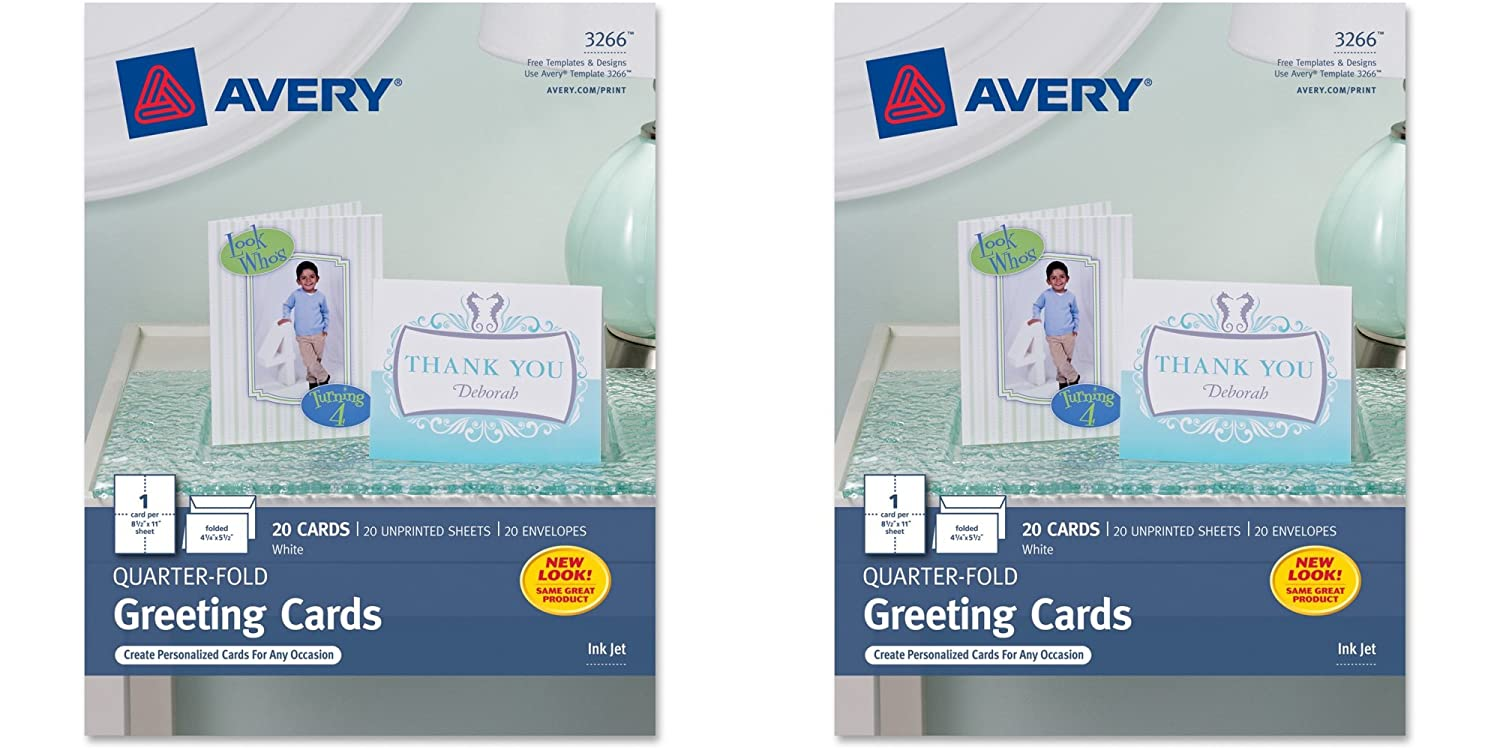 Amazon avery quarter fold greeting cards for inkjet printers amazon avery quarter fold greeting cards for inkjet printers 425 x 55 inches white pack of 20 3266 2 packs office products reheart Choice Image