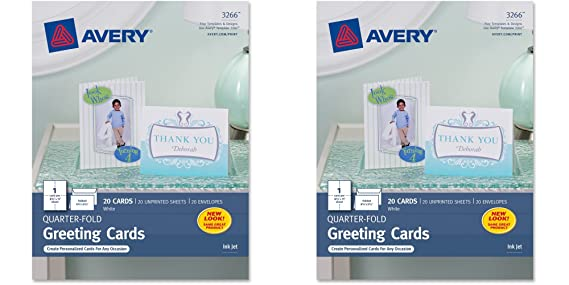 Amazon Avery Quarter Fold Greeting Cards For Inkjet Printers 425 X 55 Inches White Pack Of 20 3266 2 Packs Office Products
