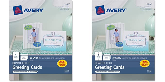 Amazon avery quarter fold greeting cards for inkjet printers amazon avery quarter fold greeting cards for inkjet printers 425 x 55 inches white pack of 20 3266 2 packs office products m4hsunfo