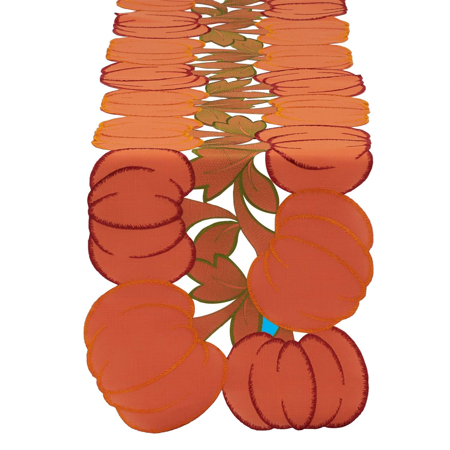 DII 14x70'' Polyester Table Runner, Embroidered Pumpkins - Perfect for Fall, Thanksgiving, Catering Events, or Everyday Use