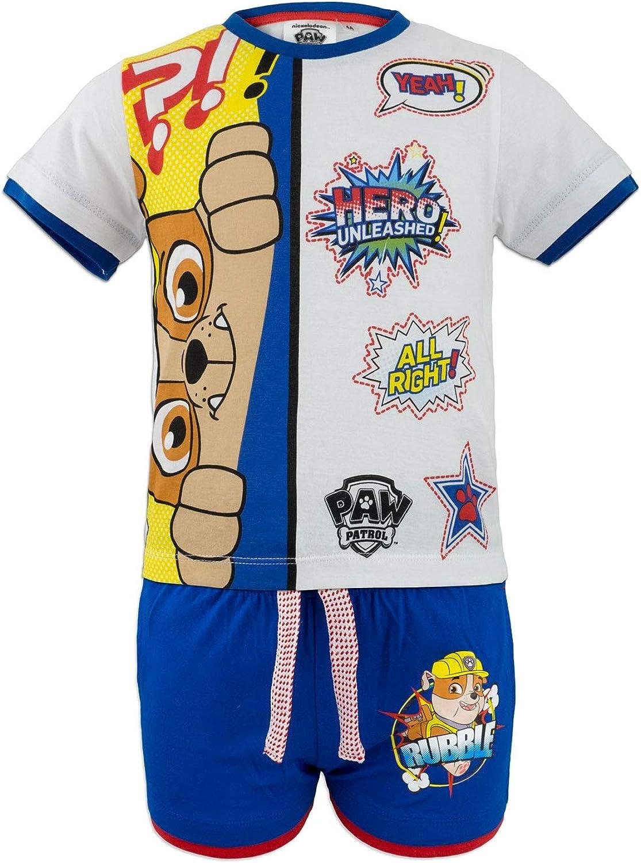 Bambino Coordinato Set 2pz T-Shirt Maglia a Maniche Corte e Pantaloncino novit/à Prodotto Originale con Licenza Ufficiale 2431ES Full Print Paw Patrol