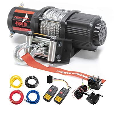 FIERYRED 12V 4500LBS Electric Steel Cable ATV Winch Kits for Towing ATV/UTV Off Road Trailer with Wireless Remote Control Mounting Bracket, 1 Year Warranty: Automotive