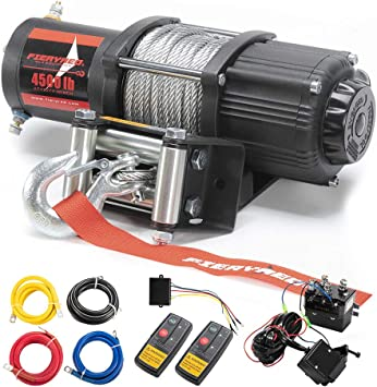 Amazon Com Fieryred 12v 4500lbs Electric Steel Cable Atv Winch