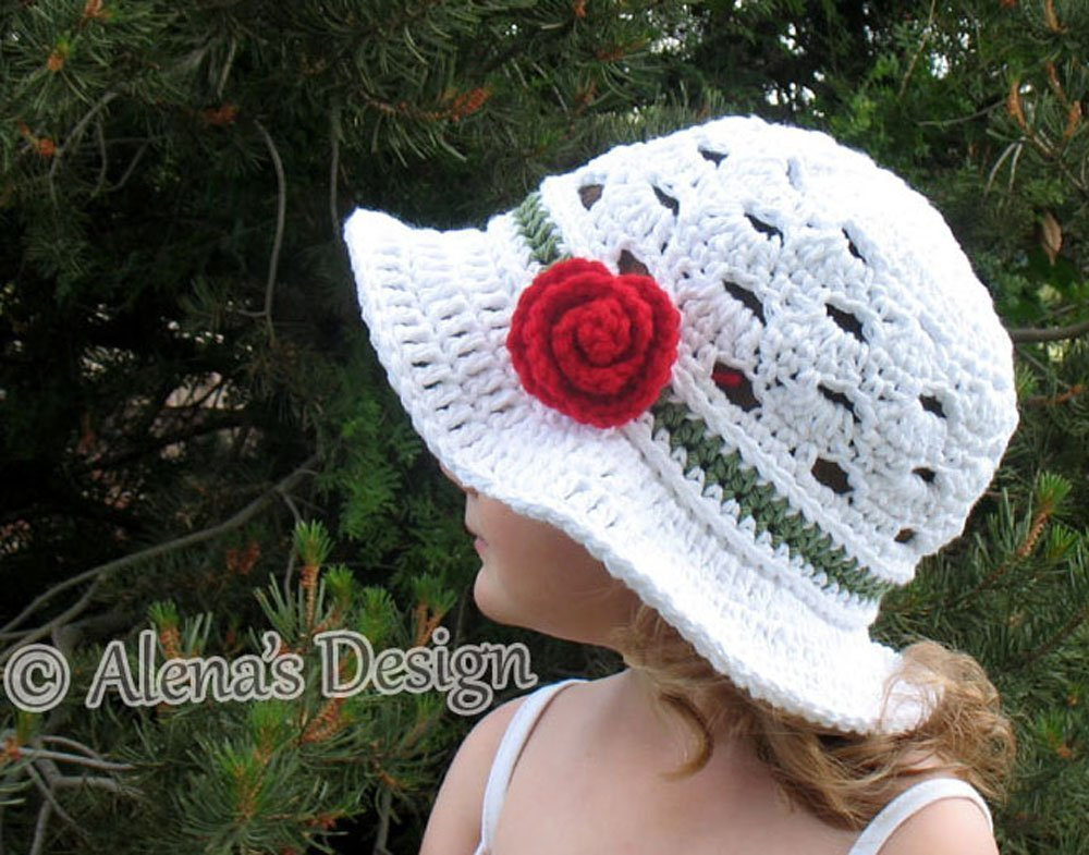 Amazon.com  Crocheted Sun Hat - Crochet Summer Hat with Brim - Women  Toddler Child Teen Adult Girls Ladies Lace Hat Made in USA  Handmade 5351399ec5