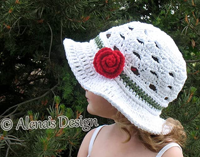 de50276803e Amazon.com  Crocheted Sun Hat - Crochet Summer Hat with Brim - Women Toddler  Child Teen Adult Girls Ladies Lace Hat Made in USA  Handmade