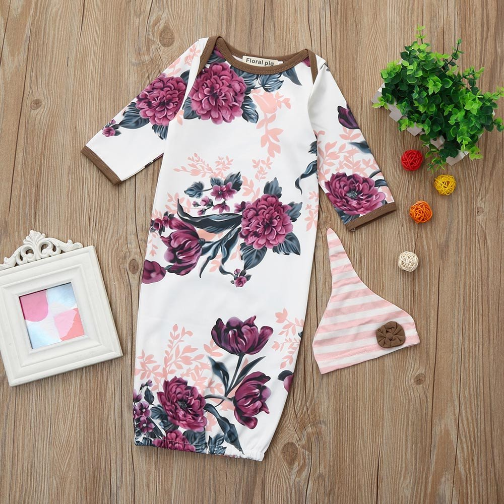 Winsummer Toddler Infant Baby Sleep Clothes Floral Printe Long ...