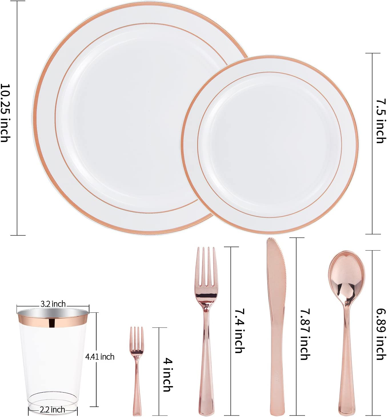 WDF 150pcs Gold Plastic Plates with Disposable Plastic Silverware/&Gold Cups 25 Spoons/& 10oz Plastic Cups 25 Knives Gold Glitter Design Include 25 Dinner Plates,25 Salad Plates,25 Forks