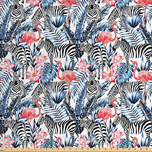 Lunarable Modern Fabric by The Yard, Exotic Animal Flamingos with Zebras Palm Leaves Lily Wild Graphic, Decorative Fabric for Upholstery and Home Accents, 1 Yard, Dark Blue Coral Black White