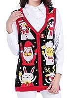 v28 Christmas Sweater Cardigan Ugly Women Vintage Cute Santa Penguin Knit Vest