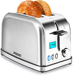 Toasters 2 Slice Toaster Best Rated Prime Toaster LCD Timer Display Compact Stainless Steel Toaster with 7 Bread Shade Settings, Bagel/Defrost/Cancel Function, Extra Wide Slots, Removable Crumb Tray (900W, Silver).