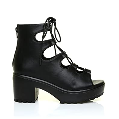 937f84b152e Lilly Black PU Leather Lace Up Peep Toe Chunky Sole Gladiator Sandals   Amazon.co.uk  Shoes   Bags