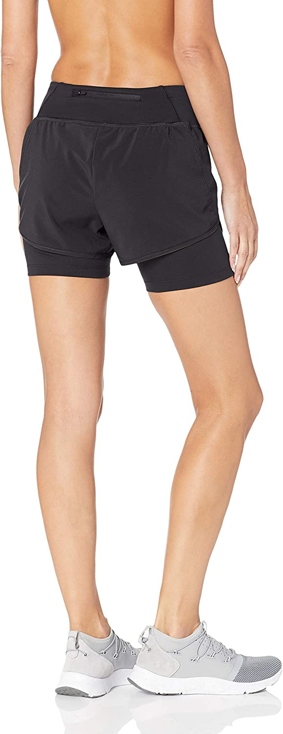 Core 10 Womens Knit Waistband Run Short with Built-in Compression Shorts