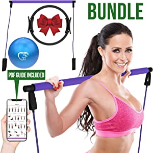 Love At Home Superior Workout Set - Pilates Bar, Pilates Ring, & Pilates Ball - Yoga, Stretching, Arms, Leg, Abs Training-Full Body Toning Exercise for Men, Women - Improves Core Strength, Flexibility