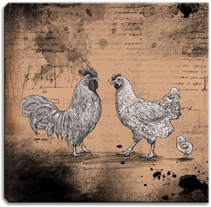 Artsbay Farm Animal Rooster Kitchen Wall Art Hen and Chicken in Brown Geometry Background Wall Decor Vintage Farmhouse Poultry Pictures on Canvas Print Modern Home Art Gallery Wrapped Ready to Hang