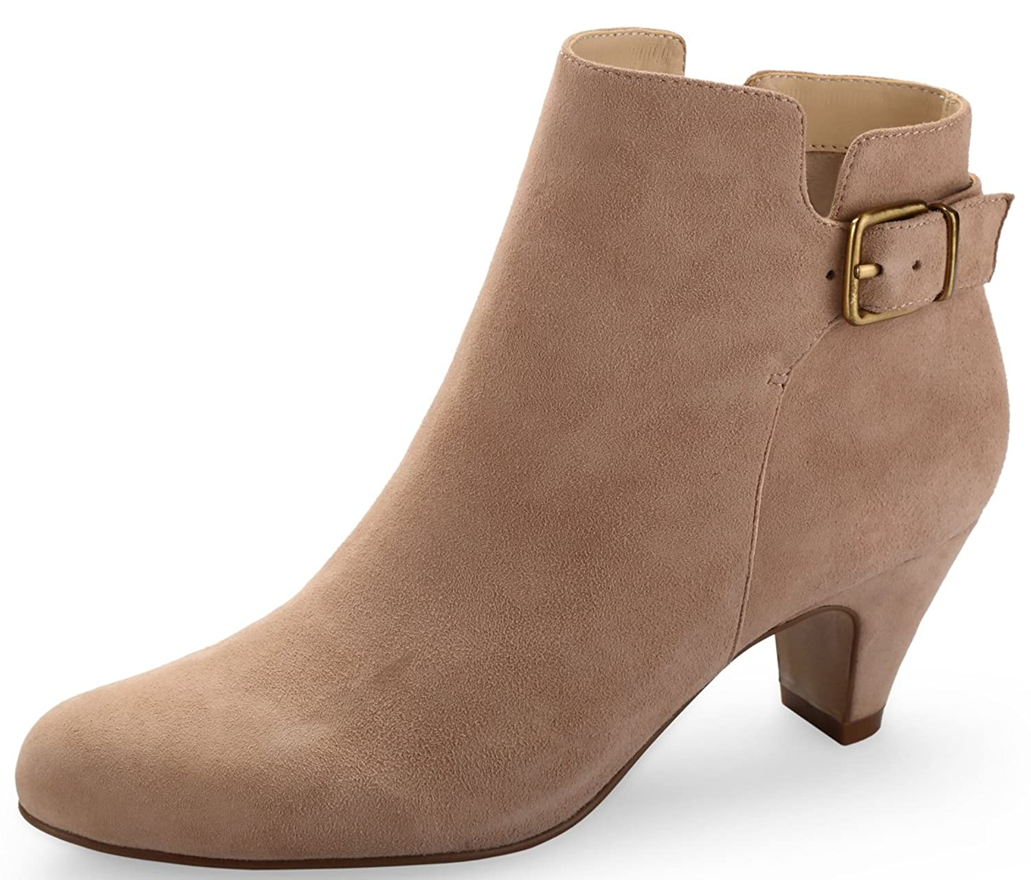 ABUSA Women's Heeled Buckle Leather Ankle Boots