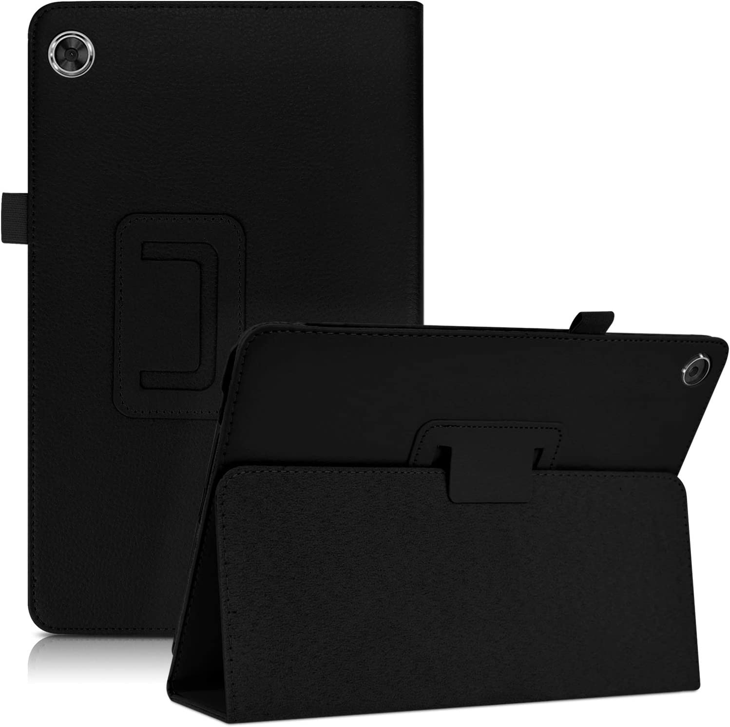 DETUOSI Leather Case Compatible with Lenovo Tab M10 FHD Plus 10.3 Inch 2020 [2nd Generation] (Model: TB-X606F/X606X) Tablet, Multi-Angle Viewing PU Leather Protective Shell Cover with Stand #Black