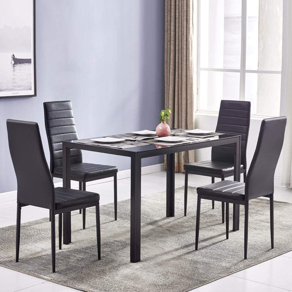 Amazon Com Ssline 5 Pieces Dining Table Set Kitchen Room Tempered Glass Dining Table Dining Table Set With 4 Faux Leather Chairs Home Furniture For Small Spaces Kitchen Table Chair Sets