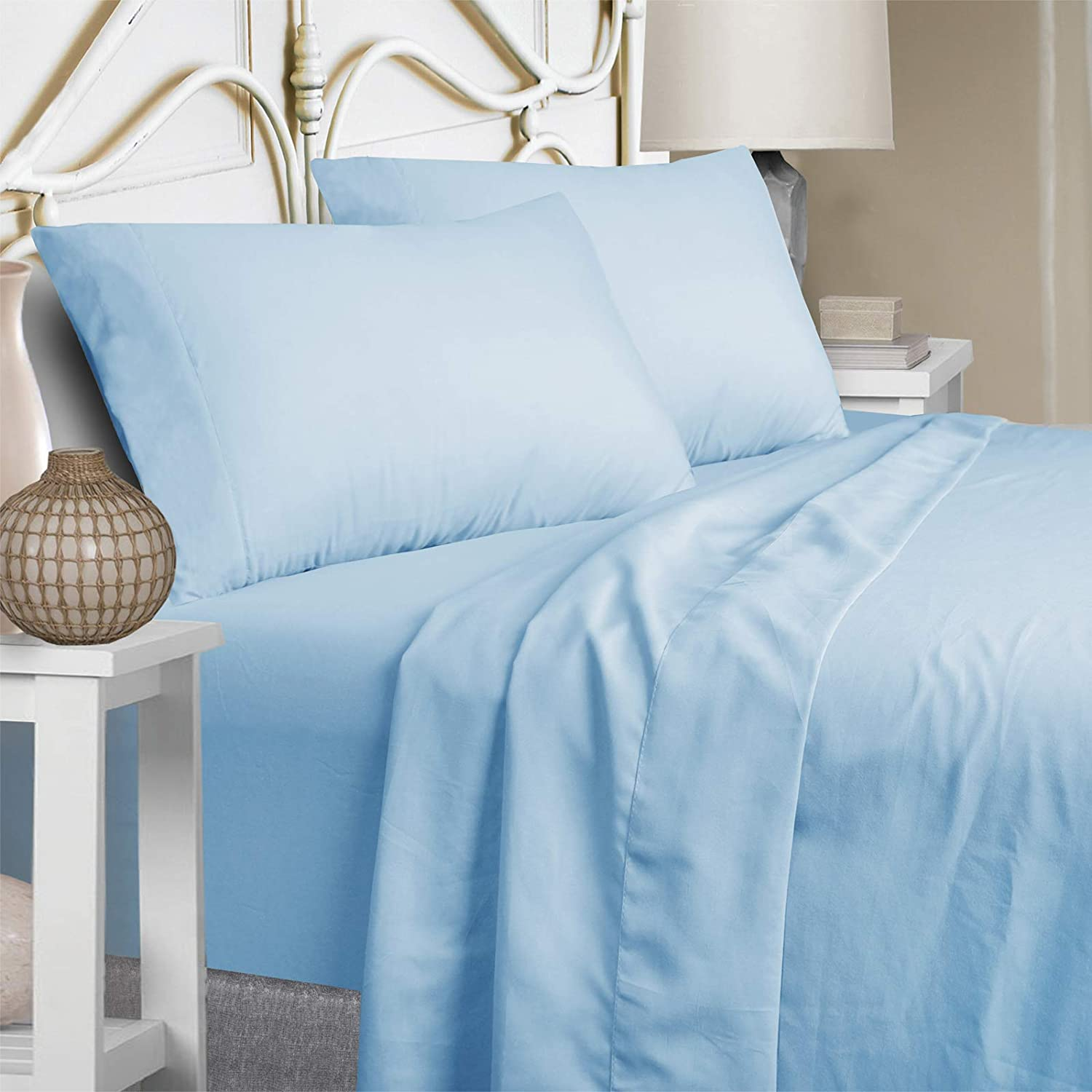 Mejoroom Bed Sheets Set Queen Size 15 Inches Deep Pocket 1800 Thread Count Microfiber Sheet,Bedding Super Soft Hypoallergenic Breathable,Resistant Fade Wrinkle Cool Warm - 4 Piece (Queen, Lake Blue)